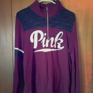 Victoria Secret: Quarter Zip Burgundy Sweatshirt
